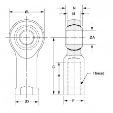 DNTF-16, Bearings, Spherical Rod End, Female, M16 x 2.00 RH, Narrow Steel Housing, PTFE Race