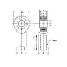 DXTF-10, Bearings, Spherical Rod End, Female, M10 x 1.50 RH, Chrome Moly Housing, Slotted Nylon Race