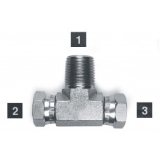 Hydraulic Adapters Tee, Branch, Swivel, M-F-F, Pipe (NPSM) - Pipe (NPTF) 1/2-14