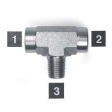 Hydraulic Adapters Tee, Branch, F-F-M, Pipe (NPTF) 1/4-18