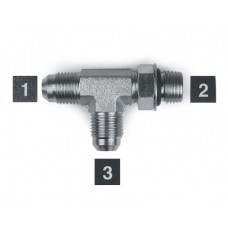 Hydraulic Adapters Tee, Run, Male, JIC-ORB-JIC 9/16-18