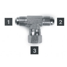 Hydraulic Adapters Tee, Branch, Swivel, M-M-F, JIC 3/4-16