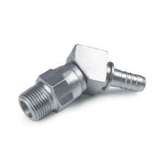 Hydraulic Hose End Fittings Male NPTF Bent Stem Stem, Male Swivel Pipe (NPTF), 45° Bend, Steel