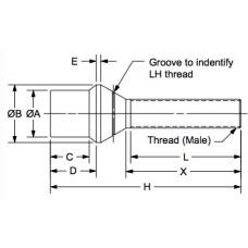 WTM-8R-0.744, Tube Thread Bungs, Male, 1/2-20 RH, Fits Tube ID of 0.744 Chrome Moly