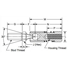 SQIL375, Ball Joints, Female, 3/8-24 RH Housing, 3/8-24 RH Stud Quick Disconnect, Inline Stainless Steel