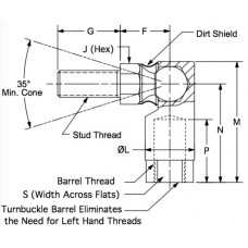 EST375, Ball Joints, Female, 3/8-24 RH Housing, 3/8-24 RH Stud Patented Turnbuckle Threads