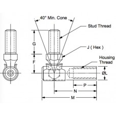 MDB-4-4, Ball Joints, Female, 1/4-28 RH Housing, 1/4-28 RH Stud Quick Disconnect, Light Duty