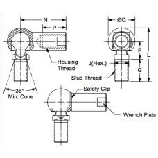 DMCS-6, Ball Joints, Female, M6 x 1.00 RH Housing, M6 x 1.00 RH Stud Zinc Clear (Silver) Plating