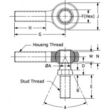 MSM-6S, Bearings, Spherical Rod End, Male, 3/8-24 RH, Steel Housing, Steel Race 0.376 Bore with Integral Ball Stud