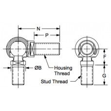 DMMCS-10, Ball Joints, Male, M10 x 1.50 RH Housing, M10 x 1.50 RH Stud