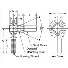 MKF-4S, Bearings, Spherical Rod End, Female, 1/4-28 RH, Stamped Housing with Integral Ball Stud