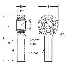 DBM-6Z, Bearings, Spherical Rod End, Male, M6 x 1.00 RH, Steel Housing, Bronze Race 6 mm Bore with Grease Zerk