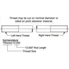 TR3125-17.000, Rods, Threaded, 5/16-24 LH/RH, 17.000 inches Long, Plated Steel with 2.500 inches of thread length on each end