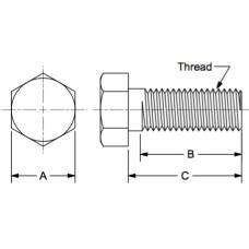 "Hex Head Cap Screw, 1/2-20 x 3.50"", Grade 5, Zinc Clear, Fasteners, Cap Screws, Hex Head, 1/2-20 RH, 3.50 Length Grade 5"