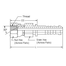 HSF-PS-SW-10-12, Hydraulic Hose End Fittings, Female NPSM Swivel stem, 5/8, Female Pipe Swivel