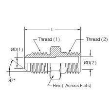 2404-12-12, Hydraulic Adapters, Union, Male, JIC-Pipe (NPTF), 1 1/16-12, 3/4-14