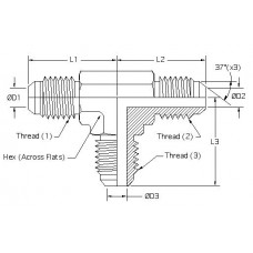 2603-16-16-16, Hydraulic Adapters, Tee, Union, Male, JIC, 1 5/16-12, 1 5/16-12 1 5/16-12
