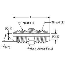 2403LH-04-04, Hydraulic Adapters, Union, Male, Large Hex, JIC, 7/16-20, 7/16-20