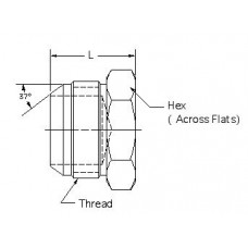 2408-14, Hydraulic Adapters, Plug, Hex Head, JIC, 1 3/16 - 12, 1.25
