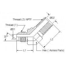 2503-10-06, Hydraulic Adapters, Elbow, 45°, Male, JIC-Pipe (NPTF), 7/8-14, 3/8-18