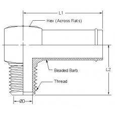 4501-12-08, Hydraulic Adapters, Elbow, 90°, Barb-Male, Barb-Pipe (NPTF), 1/2-14, 3/4