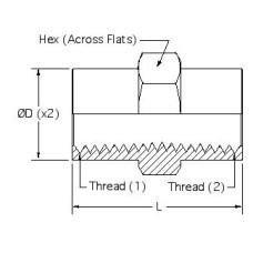 5000-08-08, Hydraulic Adapters, Union, Female, Pipe (NPTF), 1/2-14, 1/2-14