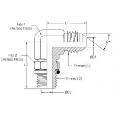 6801-10-08, Hydraulic Adapters, Elbow, 90°, Male, JIC-ORB, 7/8-14, 3/4-16