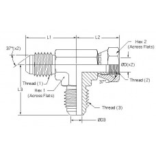 6602-10-10-10, Hydraulic Adapters, Tee, Run, Swivel, M-F-M, JIC, 7/8-14, 7/8-14 7/8-14