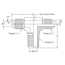 2601-05-05-04, Hydraulic Adapters, Tee, Branch, Male, JIC-JIC-Pipe (NPTF), 1/2-20, 1/4-18