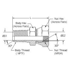 1404-12-08, Hydraulic Adapters, Union, Male-Female, Swivel, Pipe (NPTF) - Pipe (NPSM), 3/4-14, 1/2-14