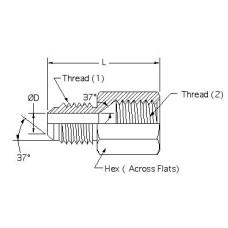 2406-12-10, Hydraulic Adapters, Reducer, Male-Female, JIC, 7/8-14, 1 1/16-12