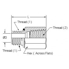 6405-05-02, Hydraulic Adapters, Union, Male-Female, ORB-Pipe (NPTF), 1/2-20, 1/8-27