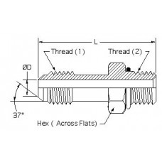6400L-06-06, Hydraulic Adapters, Union, Male, Long, JIC-ORB, 9/16-18, 9/16-18
