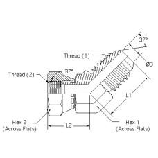 6502-05-05, Hydraulic Adapters, Elbow, 45°, Male-Female, Swivel, JIC, 1/2-20, 1/2-20