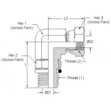 6901-04-04, Hydraulic Adapters, Elbow, 90°, Male-Female, Swivel, ORB-Pipe (NPSM), 7/16-20, 1/4-18