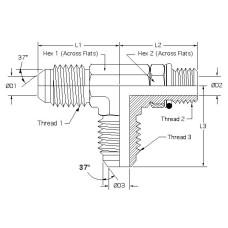 6804-06-06-06, Hydraulic Adapters, Tee, Run, Male, JIC-ORB-JIC, 9/16-18, 9/16-18 9/16-18