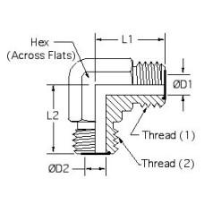 FS2500-08-08, Hydraulic Adapters, Elbow, 90°, Male-Male, OFS, 13/16-16, 13/16-16