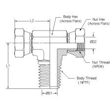 1601-08-08-08, Hydraulic Adapters, Tee, Branch, Swivel, M-F-F, Pipe (NPSM) - Pipe (NPTF), 1/2-14, 1/2-14