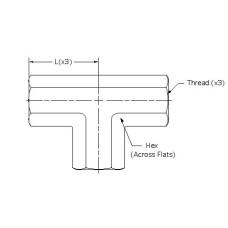 5605-04-04-04, Hydraulic Adapters, Tee, Female, Pipe (NPTF), 1/4-18, 3/4