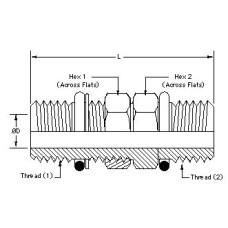 6407-08-08, Hydraulic Adapters, Union, Male, Bulkhead, ORB, 3/4-16, 3/4-16