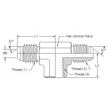 2602-10-10-08, Hydraulic Adapters, Tee, Branch, M-M-F, JIC, 7/8-14, 7/8-14 1/2-14