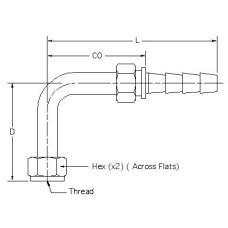 HSF-FS-SW-T90L-04-04, Hydraulic Hose End Fittings, Female Swivel ORFS Bent Stem, Stem, Female Swivel OFS, Bent Tube, 90° Long Drop, Steel, 1/4 2.450
