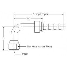 HSF-JC-SW-T90M-06-06, Hydraulic Hose End Fittings, JIC Swivel Female Stem, 3/8, 9/16-18