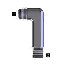 Hydraulic Adapters Elbow, 90°, Male, Long XXL, JIC-Pipe (NPTF) 1/8-27